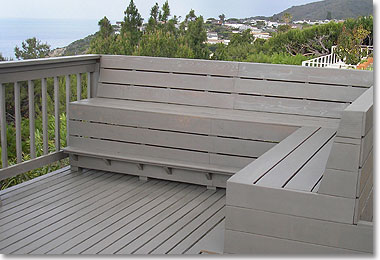 built-in benches add to the style of the deck as well as conserving space.